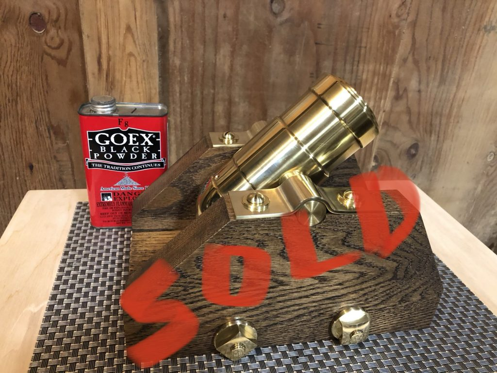 Black Powder Mortar by BROOKS-USA Super X on Oak Skid with Brass Hardware. This piece sold, available by special order.